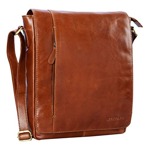 STILORD 'Paul' Umhängetasche Herren Leder Hochformat Messenger Bag im Vintage Design Ledertasche für 13,3 Zoll MacBook iPad DIN A4 Herrentasche Echtleder, Farbe:Cognac - glänzend