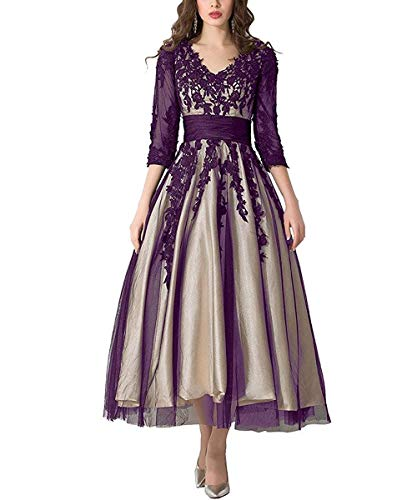 DCMall Women's Bridesmaid Dresses Lace Applique Tea-Length A-Line Mother of Wedding Party Prom Evening Dresse