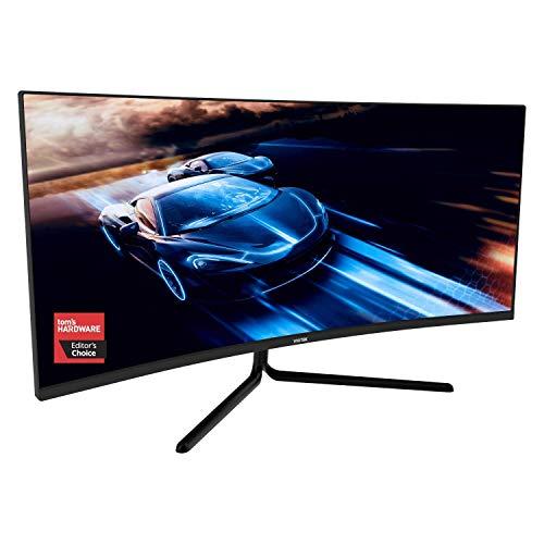 VIOTEK GNV34DBE 34-Inch Curved Gaming Monitor   144Hz UWQHD 4ms   2X HDMI 2.0, 2X DisplayPort 1.4, 3.5mm   G-Sync-Ready, FreeSync   3-Yr Warranty (VESA)
