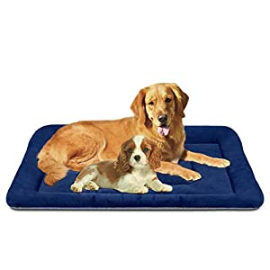 JoicyCo Large Dog Bed Washable Crate Pad Anti-Slip 47 inch Soft Pet Beds Mattress Kennel Bed Mat