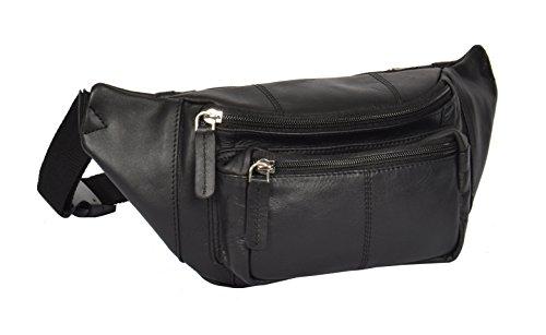 Cintura Bolso de Cuero Genuino Delgado Riñoneras de Moda del Dinero del Viajar Barcelona Negro