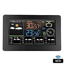 HLDUYIN Weather Monitoring Multifunction Clocks Digital Alarm Wall Clock Weather Station WiFi Indoor Outdoor Temperature Humidity Pressure Wind Weather Forecast LCD Household