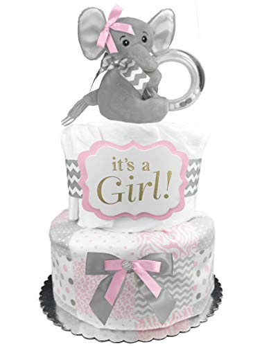 Elephant Diaper Cake -'It's a Girl' Baby...