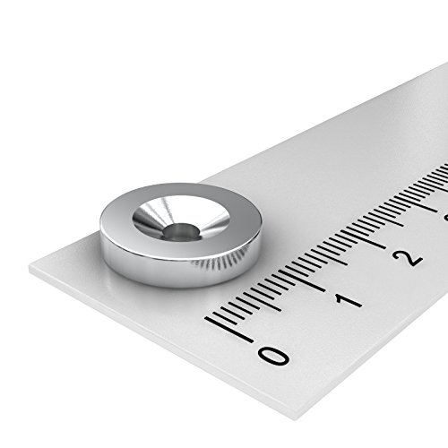 20 x Neodym Scheiben Magnet, 15 x 3 mm, mit 3.5 mm Bohrung und Senkung, vernickelt, zum Einschrauben