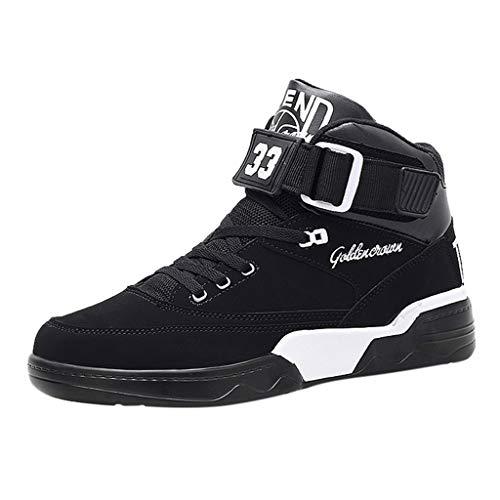 BURFLF Mode Herren Schuhe, Männer Atmungsaktiv Hohe Turnschuhe der Art- und Weise Gleiten Casual Abriebfeste Basketball Schuhe