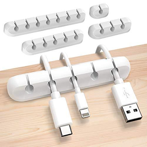 Sinwind Kabelhalter, 4 Stück Kabelclips Kabelhalter, Vielzwecke Kabelführung Kabel Organizer Set, für Haus Auto Büro Kabelmanagement (Weiß-1)