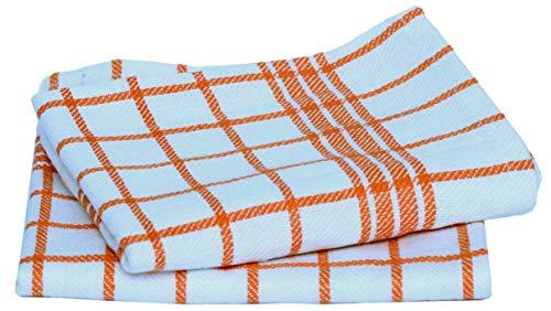 Fullers Earth Toallas de cocina (50 cm x 70 cm, juego de 2) toallas de cocina ultra absorbentes de grado profesional, toalla de cocina para secar, limpiar, cocinar y hornear (naranja y blanco)