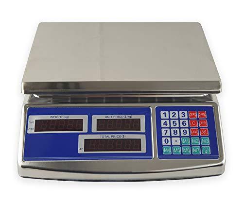 New Net - Bilancia Elettronica Professionale Digitale Max 40 kg con Doppio Display - con Batteria Ricaricabile - Piatto in Alluminio Rimovibile - Tasti di Memoria - Pesa Frutta Verdura