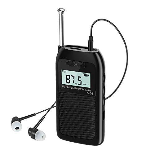 Pocket Radio FM AM Portable Radio USB Charging Radio with SD Card Slot (with Earphone)