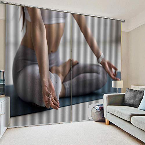 N/W Cortinas Opacas Termicas Aislantes Ruido - Practicante De Yoga con Efecto De Impresión 3D - H215 X W260 Cm