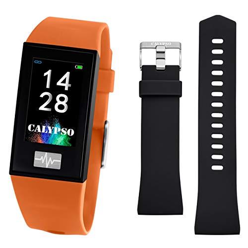CALYPSO Reloj Modelo K8500/3 de la colección SMARTWATCH, Caja de 23,80/41,60 mm Digital con Correa de Caucho Naranja para Caballero