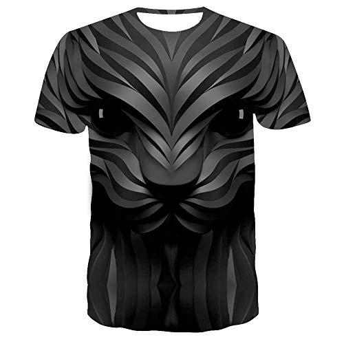 Sunofbeach Unisex 3D Printed T Shirt Zomer Gepersonaliseerde Casual T-shirt met korte mouwen Tops, Novelty Cartoon Dier Geometrische Zwarte Hond Hoofd