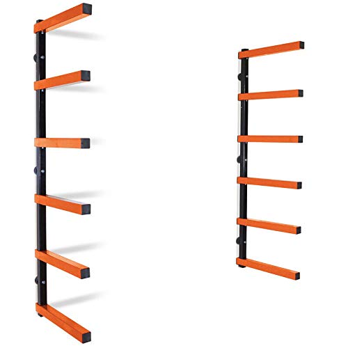 Bora Wood Organizer and Lumber Storage Metal Rack with 6-Level Wall Mount – Indoor and Outdoor Use, In Orange | PBR-001