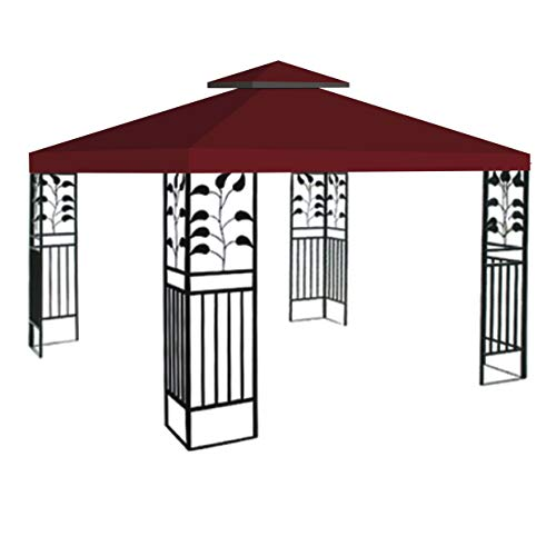 Replacement 10'X10'Gazebo Canopy top Patio Pavilion Cover Sunshade plyester Double Tiers-Burgundy