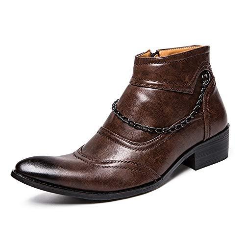 YIJIAN-SHOES Oxford schoenen voor heren, willekeurige roest-metalen ketting, decoratieve kant stiletto-laarzen jurk Oxford schoenen