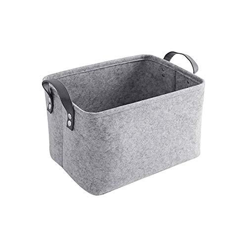 LITLANDSTAR Felt - Cesta de almacenamiento plegable de fieltro para estantería, ropa, armario, juguetes o papel higiénico, 33 x 20 x 23 cm, color gris claro