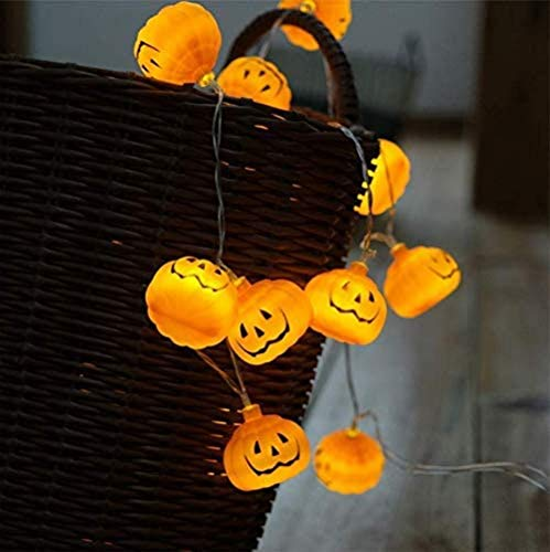 AOLIAY 2 m 20 LED Lampe zum Aufhängen Halloween Kürbis LED Lichterkette Dekoration Requisiten Smiley Kürbis Laterne Geist Festival Dress Up