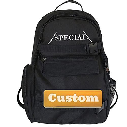 Mzhizhi Mochila de mochila ligera con nombre personalizado, para senderismo, para mujer pequeña, informal, color negro, talla única