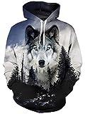 Goodstoworld 3D Hoodie Kapuzenpullover Herren Pullover Damen Forest Wolf Unisex Langarm Hoodies Sweatshirt Jungen Kapuzensweater S