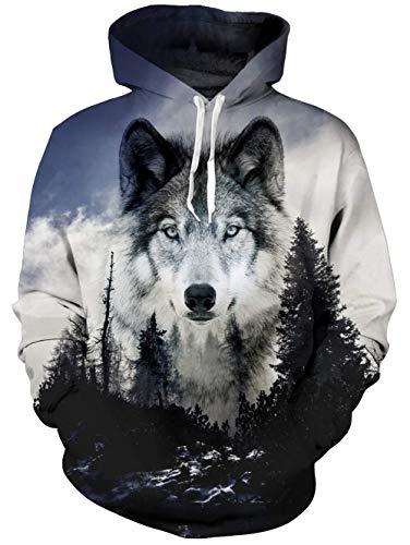 Goodstoworld 3D Druck Hoodie Wald Wolf Kapuzenpullover Herren Damen Pullover Kapuze Gedruckte Top Lässig Hoodie Sweatshirt L
