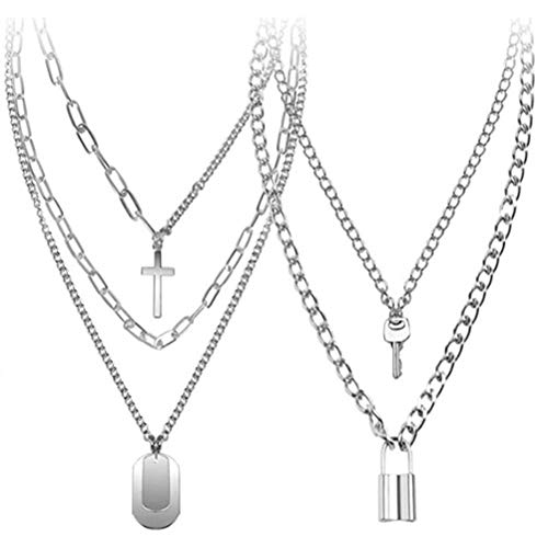 Wisvis 2Pcs Lock Chain Necklaces, Lock Pendant Necklace Punk Style Padlock Necklaces Choker, Statement Lock Pendant Necklace Set Alloy Multilayer Chains for Women Men Girls
