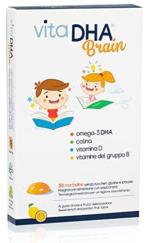 VitaDHA Brain | Para niños con 250 mg de omega-3 DHA, colina y vitaminas D y B por 1 gelatina al día | Para el cerebro y el sistema inmunológico | Sin azucar | 30 deliciosas gelatinas