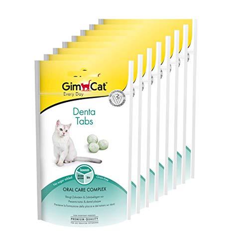 GimCat Denta, comprimidos - El complejo para el cuidado bucodental previene la formación de sarro y la placa dental - Con menta y algas marinas - Sin azúcar añadido - Pack de 8 (8 x 40 g)