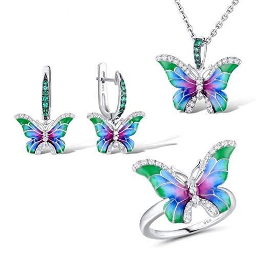 Trendy Silver Color Butterfly Blue Esmalte Zircon Joyería Juego para Mujeres Creative Compromiso Partido Collar Anillo Pendiente Joyería