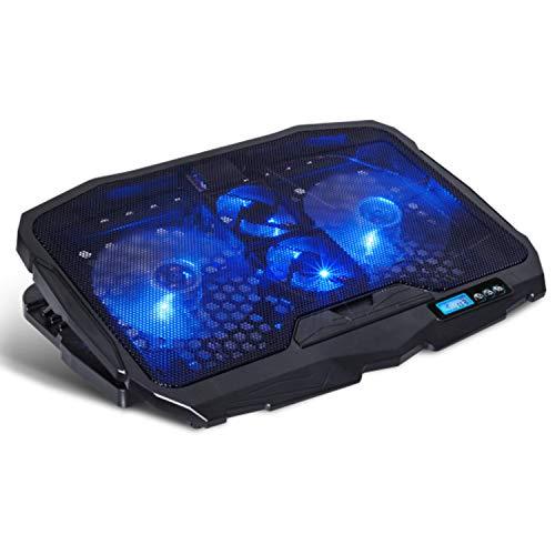 """SPIRIT OF GAMER Refroidisseur AirBlade 600 Blue 17"""" avec Contrôleur LCD / 4 ventilateurs silencieux / 3 Modes de refroidissement"""