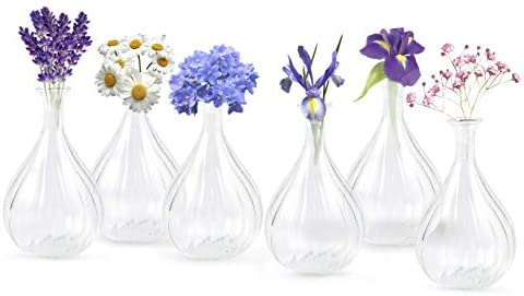 Linnai Products Glass Bud Vase Set of 6 Small Flower Vases 4 7 Tall Perfect for Weddings Centerpieces product image