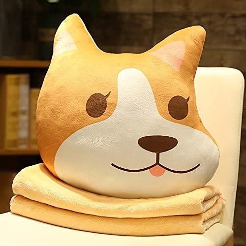 MEKTSA 48cm Cute Shiba Inu Dog Plush Toy Stuffed Animal Corgi Chai with Blanket Sleep Cushion Lovely Office Bed Decor Doll Gifts 2
