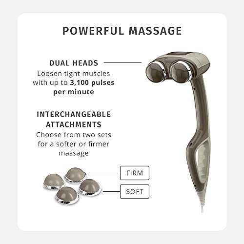 HoMedics Percussion Action Massager with Heat   Adjustable Intensity , Dual Pivoting Heads   2 Sets Interchangeable Nodes , Heated Muscle Kneading for Back , Shoulders , Feet , Legs , & Neck