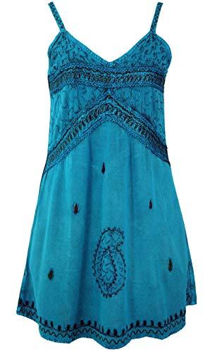 Guru-Shop Besticktes Indisches Kleid, Boho Minikleid, Damen, Türkisblau Design 1, Synthetisch, Size:40, Kurze Kleider Alternative Bekleidung