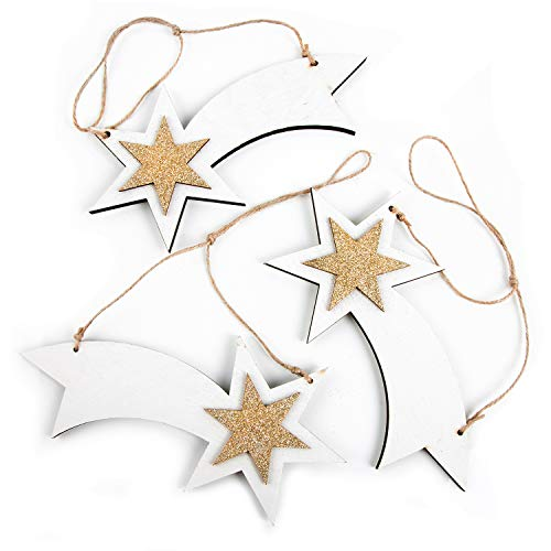 Logbuch-Verlag 3 estrellas fugaces colgantes de madera, estrella de Navidad, Estrella de...