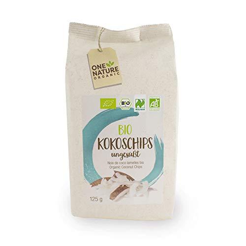 ONE NATURE Organic - BIO Kokoschips 6x125g – aus ökologischer Landwirtschaft – ungesüßt und knackig frisch – low carb chips - Urlaubsgefühle für Zuhause für's Müsli und zum Backen