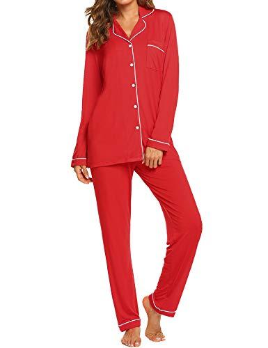 Ekouaer Christmas Pajamas Women's Long Sleeve Sleepwear 2 Piece Lounge Set (Red,XS)