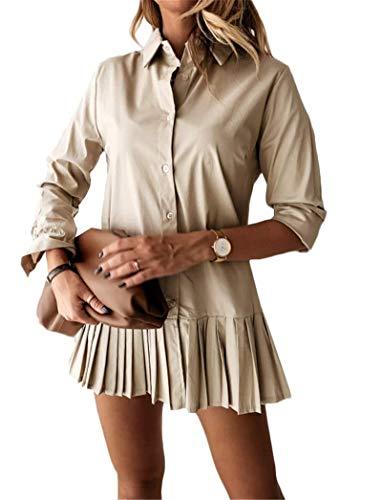Damen Blusen Kleid V-Ausschnitt Longshirts Strankleid Cover Up Pleated Blusekleider Oversized Shirt Hemd Oberteil (Khaki, S)