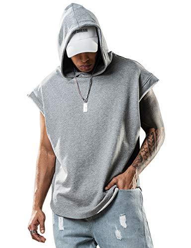 Men Hoodies Light Dri Fit Sleeveless Shirt Men Workout Tank Top Hoodie Grey