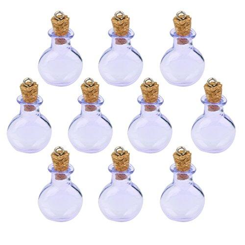 10 Bottiglie Di Sughero Vetro Piano Rotondo Fiala Bottiglia Di Desiderio Anello Ciondolo Fai Da Te Viola