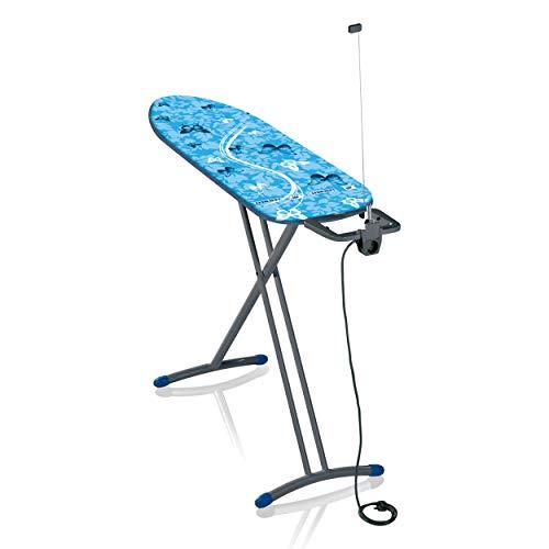 Leifheit Bügeltisch Air Board M Solid Plus 60years Color Edition blau, ist höhenverstellbar, Bügelbrett für Dampfbügeleisen, Dampfbügeltisch mit Zwei-Seiten-Bügeleffekt, Limited Edition grau blau