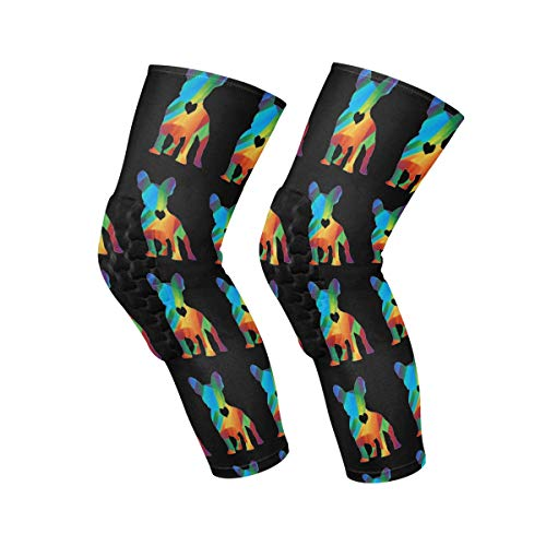Knee Brace Geometric French Bulldog Knee Compression Sleeve Support Shin Pads for Running Sports,Sold as Pair