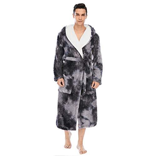 GAOHONGMEI Albornoz largo de invierno cálido de franela albornoz suave de impresión gruesa de felpa batas masculinas bata de dormir ropa de estar ropa de dormir de la bata de -003-XL