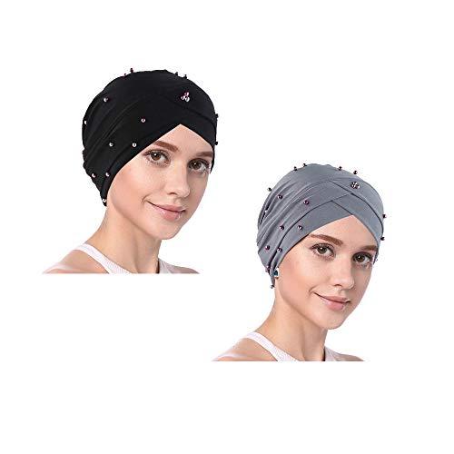 YOFASEN Bonnet Slouchy - Femmes Musulman Casquette Beanie Turban Tête Volants Perlés et Chimio Casquette Wrap Cap pour la Perte de Cheveux(Paquet de 2), Noir + Gris, One Size