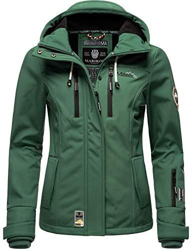 Marikoo Damen Softshell-Jacke wasserdichte Outdoorjacke mit Kapuze Kleinezicke Dusty Green Gr. L*