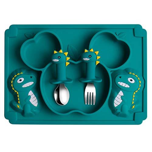 Toddmomy 1 juego de platos de silicona divididos para plato de bebé, plato de alimentación de silicona, plato de succión, plato de bebé con cuchara tenedor, juego de utensilios verde