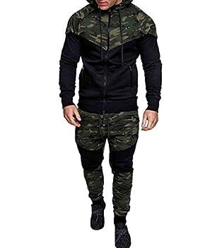Men s Tracksuit Set Camouflage Sweatshirt Jogger Sweatpants Solid Patchwork Warm Sports Suit  Green XL