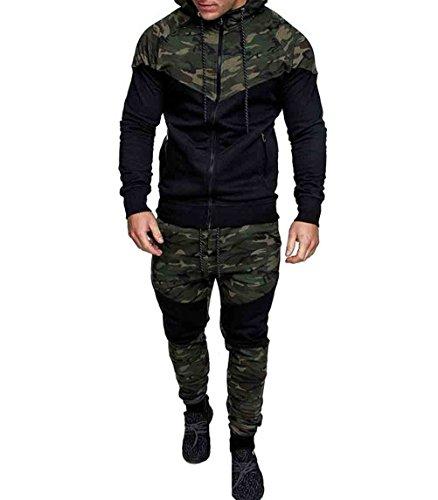 Men's Tracksuit Set Camouflage Sweatshirt Jogger Sweatpants Solid Patchwork Warm Sports Suit (Green, L)
