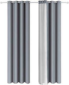 Shang Gu - Cortinas aislantes térmicas de doble cara con revestimiento plateado con ojales para dormitorio, salón, oficina, 140 x 250 cm, color gris oscuro