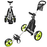 BOBOPRO Golf Push Cart 3 Wheel Folding Lightweight Golf Pull Trolley One Sec to Fold/Unfold with Foot Brake Golf Accessories for Practice and Game Gift for Golfers