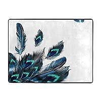 花柄 鳥 幸運な孔雀の羽 ゆったりとしたサイズのラグは120x160cm (48x63インチ) 寝室用のふわふわエリアラグ、リビングルーム用の柔らかいシャギーラグ、子供用屋内ラグぬいぐるみフロアカーペット滑り止めプレイマットモダンな家の装飾 通気性が高いです カーペットが軽量で折り畳み可能 簡単に持ち運び